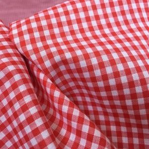 Vintage Red White Gingham Fabric Cotton 2 yards